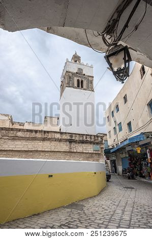 Tunisia, Sousse. One of the fortress towers of Medina (the old city), surrounded by thick walls. stock photo