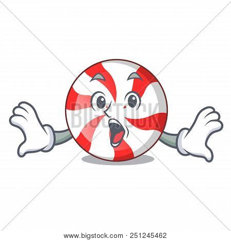 Surprised peppermint candy mascot cartoon vector illustration stock photo