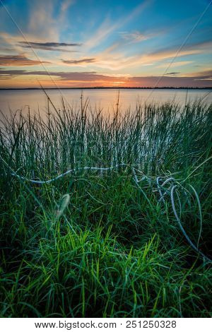 Lake Colac in the summer at sunset in Australia stock photo