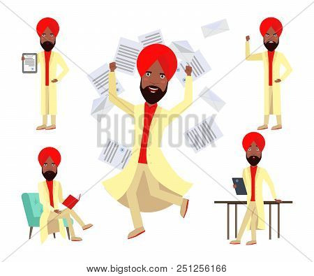 Rich Arabian businessman character set with different poses, emotions, gestures. Success, concluding contract, reading book, arguing. Can be used for topics like leisure, luck, executive stock photo