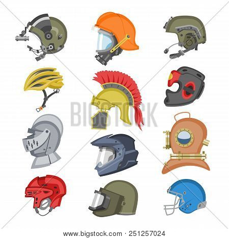 Helmet vector helm equipment protection or safety sport headpiece protecting head illustration set of motorcycle headgear with helmet-shield and ancient knight headwear isolated on white background. stock photo