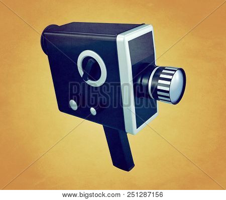Stylized retro handheld movie camera on a yellow background. Aged image. 3D rendering stock photo