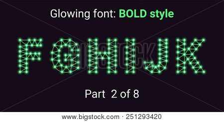 Green Glowing font in the Outline style. Vector Alphabet with Connections, Lines, Polygonal structure and Glowing knots. Bold style, part 2 with uppercase letters F G H I J K stock photo