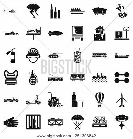 Weight icons set. Simple style of 36 weight vector icons for web isolated on white background stock photo