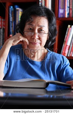 Senior Asian woman portrait stock photo