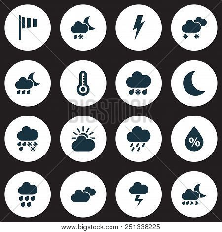 Weather icons set with humidity, storm, heavy rain and other deluge elements. Isolated  illustration weather icons. stock photo