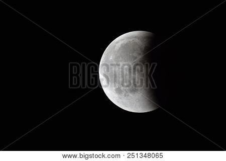 Moon Eclipse Closeup Showing the Details of Lunar Surface moon eclipse stock photo