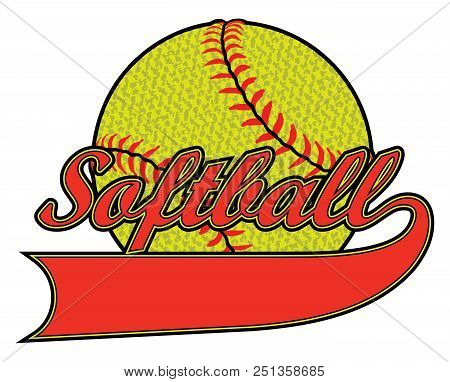 Softball With Banner And Textured Ball Is An Illustration Of A Softball Design Including A Banner Fo