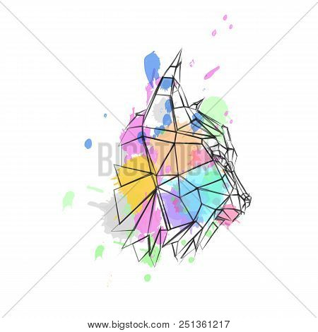 low poly lynx in profile with colored spots stock photo