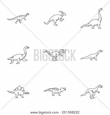 Wild dinosaur icons set. Outline set of 9 wild dinosaur vector icons for web isolated on white background stock photo