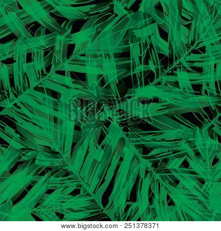 Palm Monstera Seamless Pattern. Black Green Tropical Summer Background. Beach Jungle Leaves for Swimwear Design. Lei Rapport. Retro Hawaiian Print. Tropic Textile Texture.  Botanic tiling. stock photo