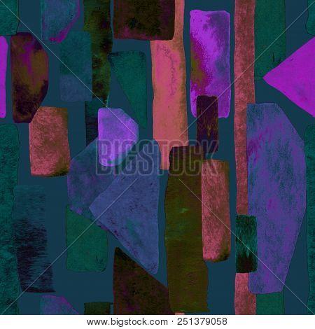 Bauhaus pattern. Indigo blue geometric watercolor abstract seamless print. Watercolour stripe background. Kaleidoscope lines.  Contemporary art illustration. Bauhaus graphic design. Trendy texture stock photo