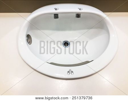 Hand basin automatic can be used hand blowers wind and soap at bathroom in modern international airport for service all passengers. stock photo