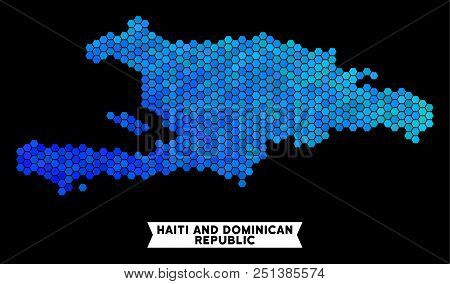 Hexagon Blue Haiti and Dominican Republic map. Geographic map in blue color shades on a black background. Vector collage of Haiti and Dominican Republic map organized of hexagon elements. stock photo