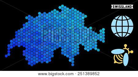 Hexagon Blue Swissland map. Geographic map in blue color shades on a black background. Vector collage of Swissland map created of hexagon pixels. stock photo
