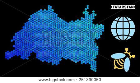 Blue Hexagon Tatarstan map. Geographic map in blue color hues on a black background. Vector mosaic of Tatarstan map created of hexagon items. stock photo
