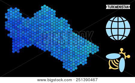 Hexagon Blue Turkmenistan map. Geographic map in blue color tints on a black background. Vector mosaic of Turkmenistan map constructed of hexagon pixels. stock photo