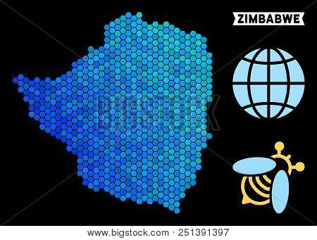 Hexagon Blue Zimbabwe map. Geographic map in blue color tones on a black background. Vector composition of Zimbabwe map organized of hexagon dots. stock photo