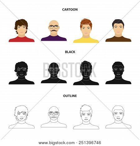 The appearance of the young guy, the face of a bald man with a mustache in his glasses. Face and appearance set collection icons in cartoon, black, outline style vector symbol stock illustration . stock photo