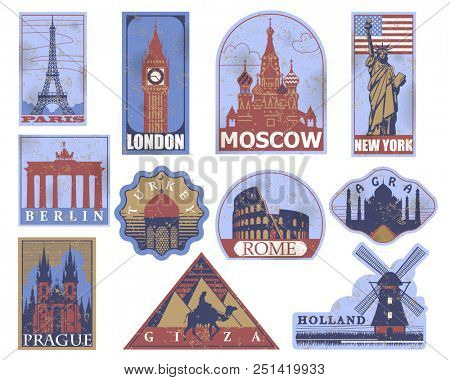 Vintage paper landmarks travel labels. Stickers of travel: Paris, London, New York, Moscow, Berlin, Rome, Agra, Prague, Holland, Giza, Turkey.  stock photo