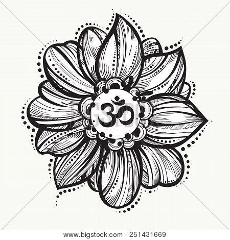 Hand Drawn Ohm Symbol Indian Diwali Spiritual Sign Om Lotus