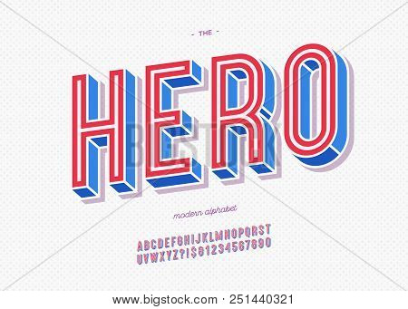 Vector hero typeface trendy typography colorful style for decoration, logo, party poster, t shirt, book, greeting card, sale banner, printing on fabric, stamp. Cool 3d font. Modern alphabet. 10 eps stock photo