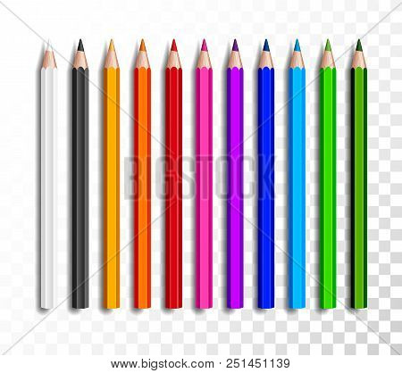 Design set of realistic colored pencils on transparent background. School items, colorful pencil vector illustration stock photo