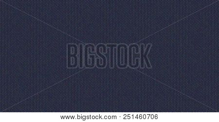 Blue knitted texture, wool melange yarn. Vector seamless background can be used as wallpaper, design element. Perfect place for your text. Woolen cloth, handmade. Horizontal orientation . stock photo