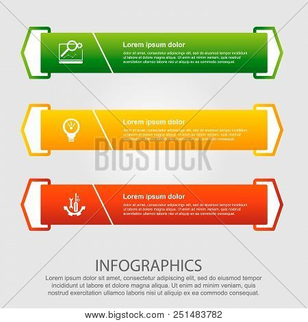 Modern vector illustration. Infographic template with three elements, arrows of the rectangle and percentages. Step by step. Designed for business, presentations, web design, diagrams with 3 steps. stock photo