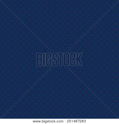 Abstract Checkered Knitted Sweater Pattern. Vector Seamless Background with Shades of Blue Colors. Wool Knit Texture Imitation. stock photo
