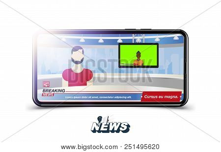 Anchorman in Breaking News. Banner Breaking News template in realistic smartphone on white background. Concept for screen TV channel. Flat vector illustration EPS10. stock photo
