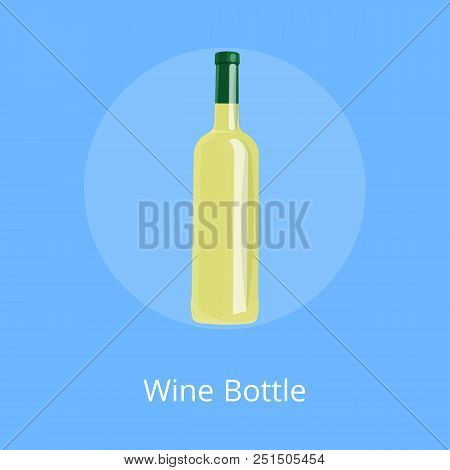 Wine bottle of white alcohol drink isolated on blank background. Elite classic beverage in modern glassware without label, template of vino bottle stock photo