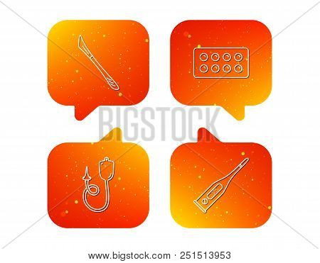 Electronic thermometer, tablets and scalpel icons. Enema linear sign. Orange Speech bubbles with icons set. Soft color gradient chat symbols. Vector stock photo