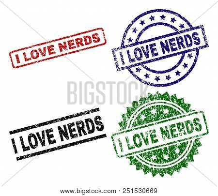 I LOVE NERDS seal prints with corroded style. Black, green, red, blue vector rubber prints of I LOVE NERDS label with corroded surface. Rubber seals with circle, rectangle, medal shapes. stock photo