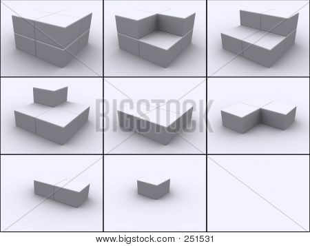 3d rendered image of 8 boxes put together cube by cube in 9 steps. stock photo