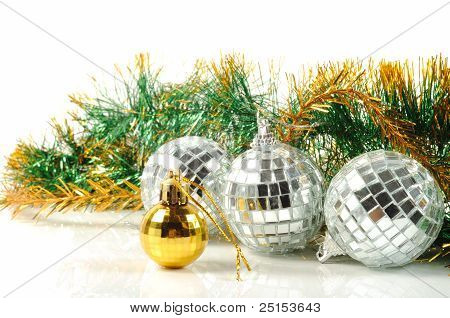 Christmas decorative balls from small mirrors and decoration stock photo