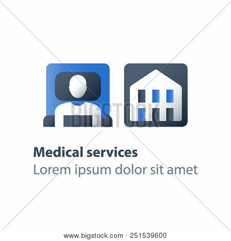 Hospice services, inpatient attendance, palliation illness, medical care, hospital ward with cot, rehabilitation center, stationary therapy, health care concept, vector flat icon stock photo
