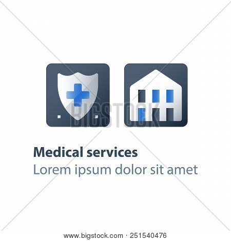 Medical insurance, health care, shield and cross, hospital services, hospice concept, charity fund, preventive check up, vector flat icon stock photo