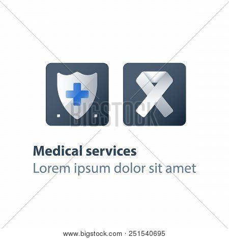 Human immunodeficiency virus, AIDS concept, medical services, health care program, preventive measures, check up clinic, medical test, white ribbon, vector flat icon stock photo