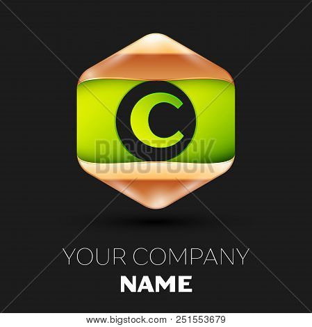 Realistic Green Letter C logo symbol in the colorful golden-green hexagonal shape on black background. Vector template for your design stock photo