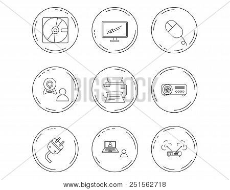 Monitor, printer and wi-fi router icons. Video chat, electric plug and pc mouse linear signs. Projector, hard disk icons. Linear Circles web buttons with icons. Vector stock photo