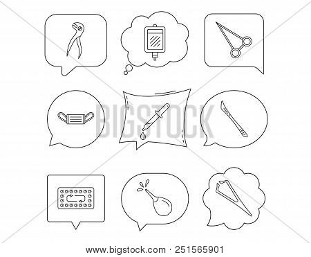 Medical mask, blood and dental pliers icons. Contraception, scalpel and clyster linear signs. Tweezers, pipette and forceps flat line icons. Linear Speech bubbles with icons set. Comic chat balloon stock photo