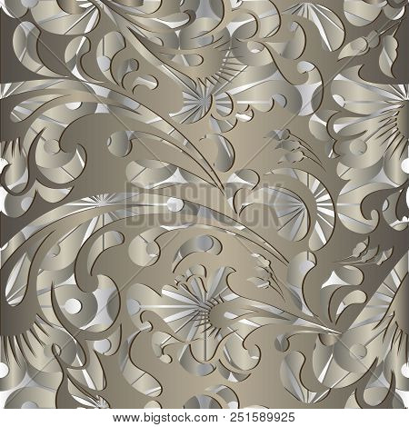 Vector ornamental 3d Paisley seamless pattern. Floral surface gold background. Abstract decorative paisley flowers, leaves, swirls. Vintage beautiful design. For wallpapers, fabric, textile, printing stock photo