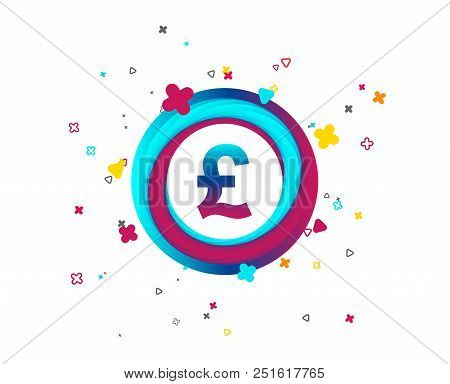 Pound sign icon. GBP currency symbol. Money label. Colorful button with icon. Geometric elements. Vector stock photo