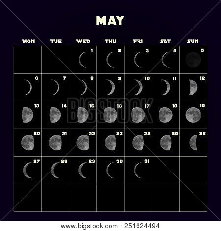 Moon phases calendar for 2019 with realistic moon. May. Vector EPS 10 stock photo