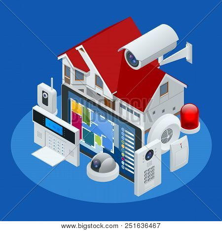 Isometric alarm system home. Home security. Security alarm keypad with person arming the system. Access, Alarm zones, security system panel vector illustration stock photo