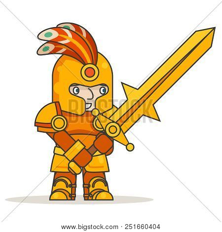 Greatsword two-handed sword warrior warlord knight fantasy medieval action game RPG character isolated icon vector illustration stock photo