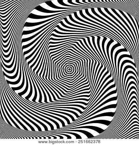 Abstract op art design. Illusion of whirlpool movement. Vector illustration. stock photo