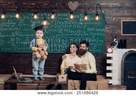 School Lesson. Little Boy Have School Lesson. Family And Child At School Lesson. Father And Mother H