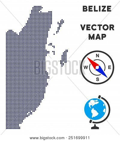 Dot Belize map. Abstract territorial map. Dots have rhombus form and dark blue color. Vector mosaic of Belize map constructed of rhombus dot grid. stock photo